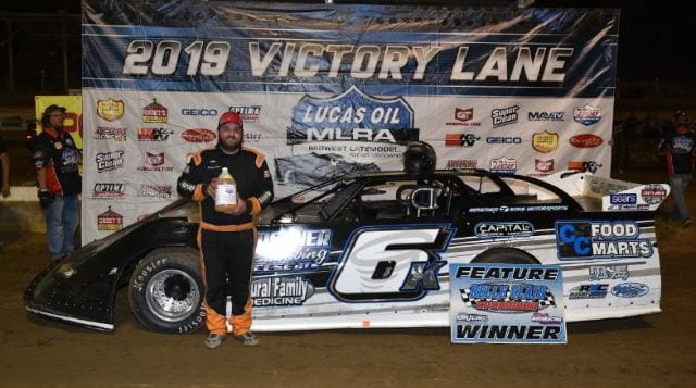 Michael Kloos collected his first Lucas Oil MLRA triumph on Friday at Belle-Clair Speedway. (Lloyd Collins Photo)