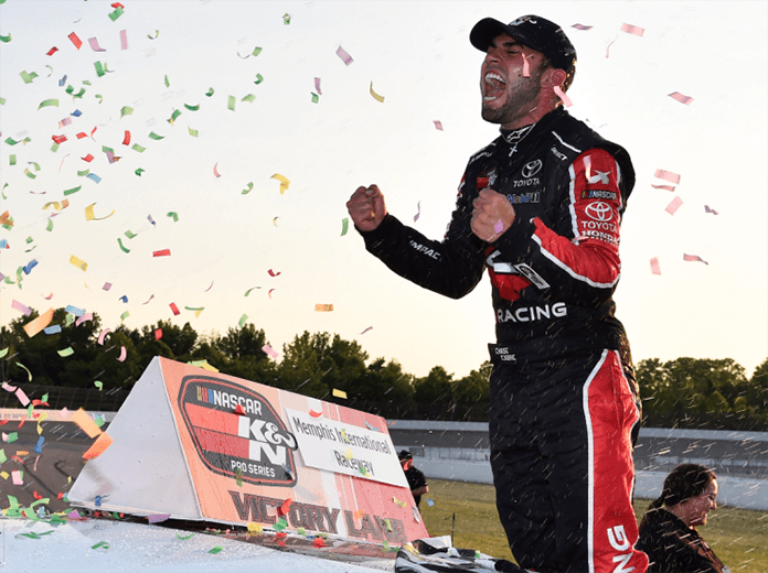 Chase Cabre celebrates after earning his first NASCAR K&N Pro Series East victory Saturday at Memphis Int'l Raceway. (NASCAR Photo)