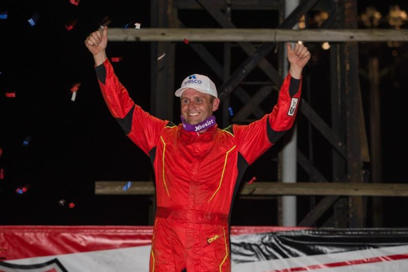 Mike Marlar in victory lane at Portsmouth Raceway Park. (LOLMDS photo)