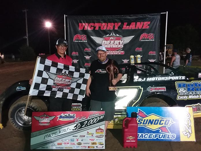 Matt Ryan made his move to the front following a late restart to win Sunday's Deery Brothers Summer Series main event at Quad City Speedway. (IMCA Photo)