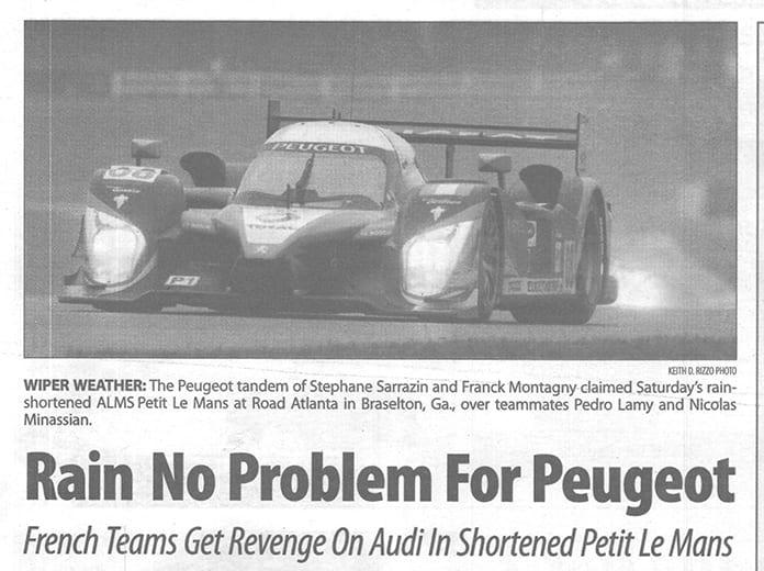 Rain helped the Peugeot team win the 2009 Petit Le Mans.