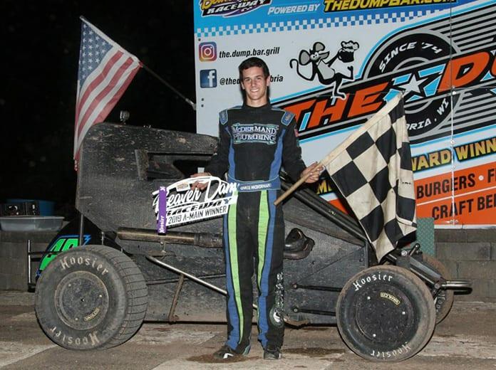 Chase McDermand in victory lane Saturday night at Beaver Dam Raceway.