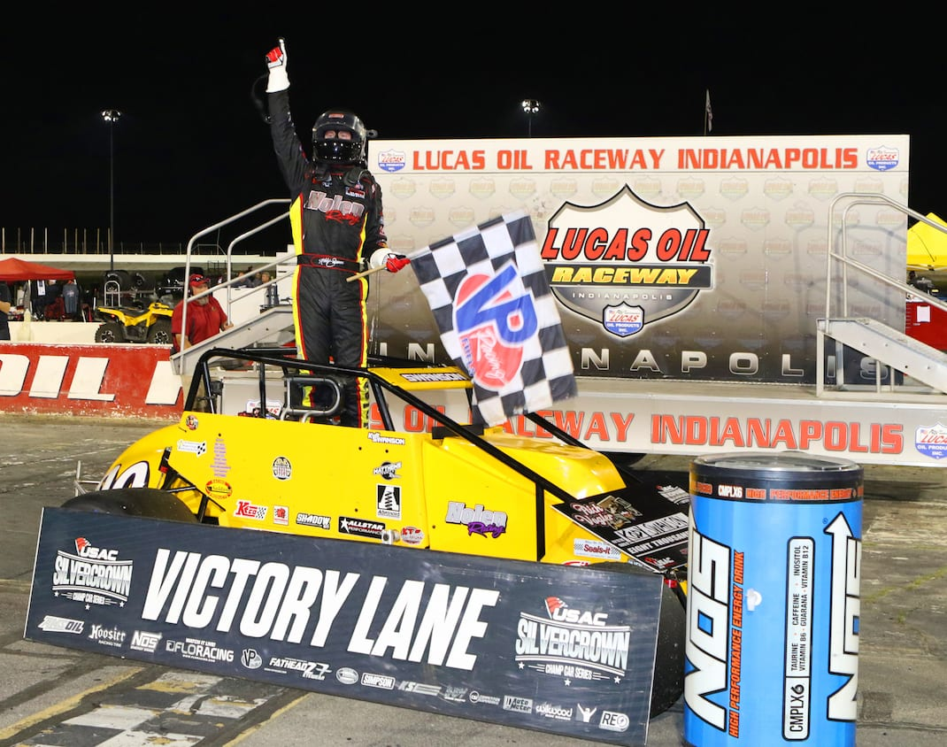 Kody Swanson in victory lane at Lucas Oil Raceway. (Todd Ridgeway photo)