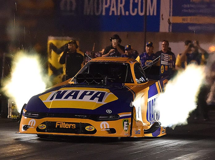 Ron Capps reset both ends of the Funny Car track record Friday at Maple Grove Raceway. (Harry Cella Photo)