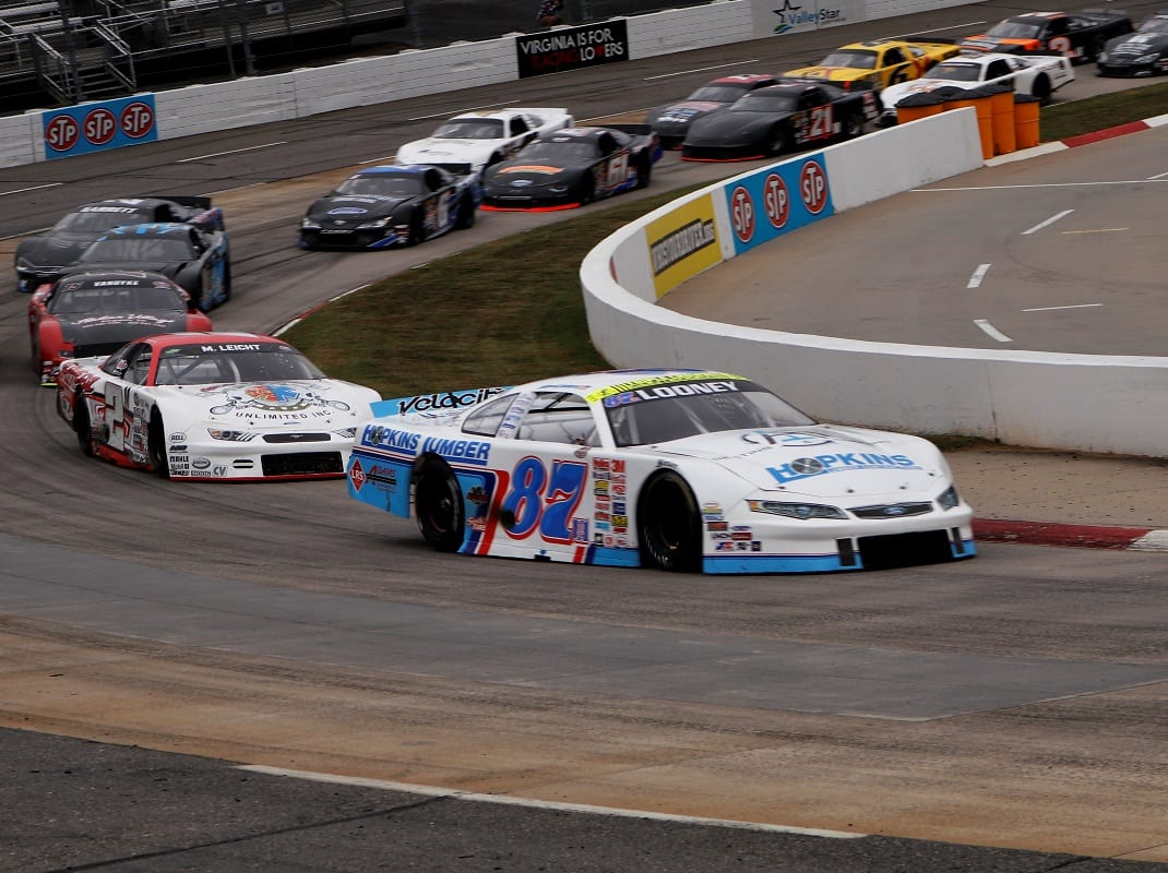 Mike Looney (87) leads during the first ValleyStar Credit Union 300 last chance race Saturday. (Ryan Willard photo)
