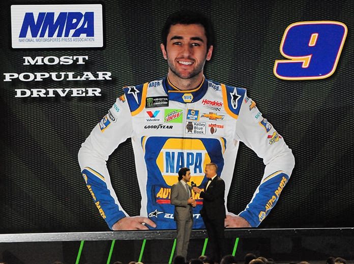 Chase Elliott was recognized as the NMPA Most Popular Driver for the second-straight season on Thursday in Nashville, Tenn. (Dave Moulthrop Photo)