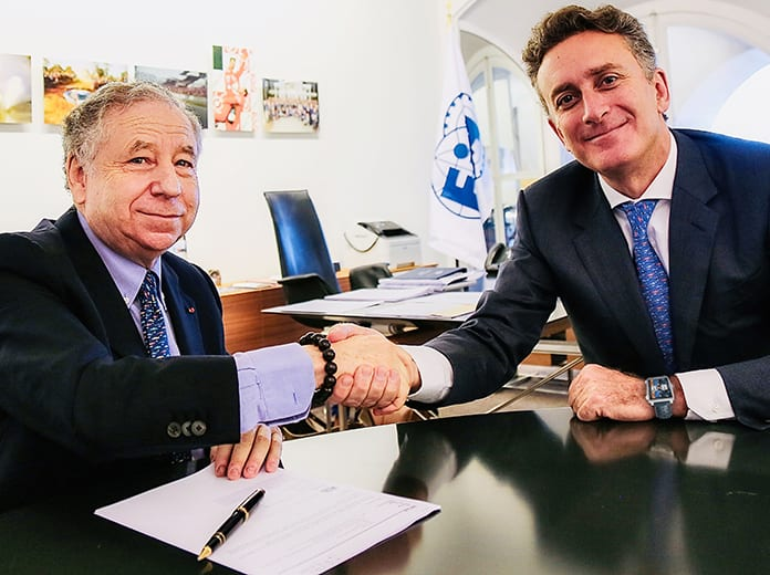 (From left) FIA President Jean Todt and Founder & Chairman of Formula E Alejandro Agag, signing the agreement at FIA headquarters at Place de la Concorde in Paris.