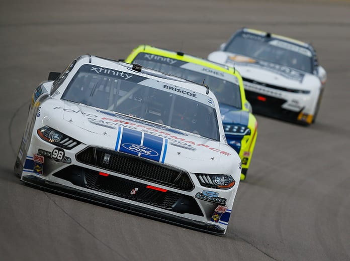 Chase Briscoe (98) raced to victory in Sunday's NASCAR Xfinity Series event at Las Vegas Motor Speedway. (HHP/Chris Owens Photo)