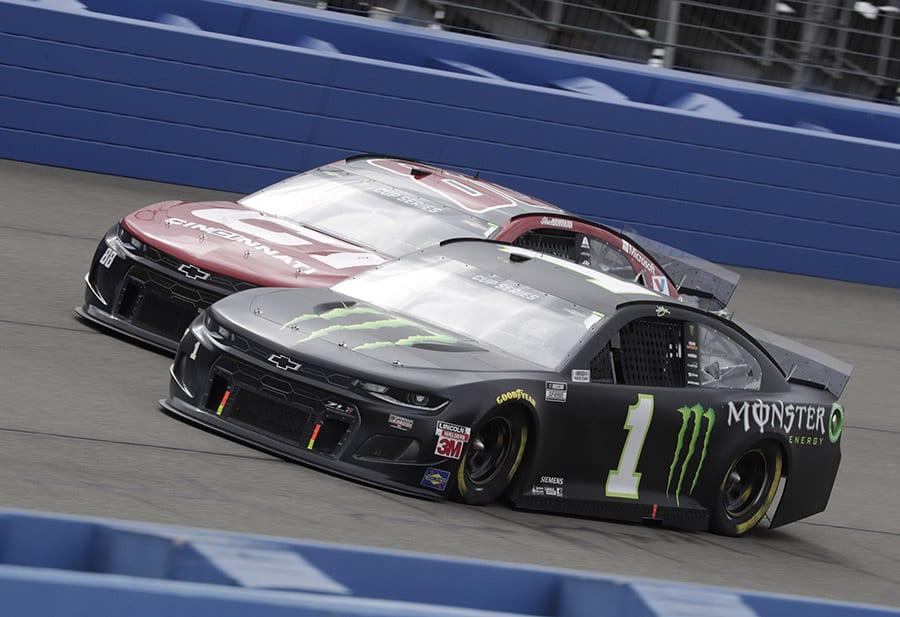 Kurt Busch (1) battles Alex Bowman during Sunday's NASCAR Cup Series event at Auto Club Speedway. (HHP/Harold Hinson Photo)