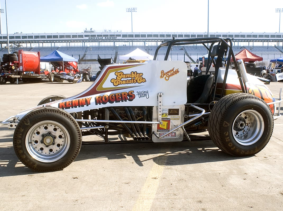 Danny Smith drove the Kenny Rogers Racing Team Gambler Chassis Co. car to two top-10 points finishes with the World of Outlaws in 1980 and 1981. (Doug Auld Photo)