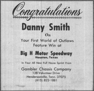 This congratulatory ad appeared in the March 12, 1980 edition of National Speed Sport News after Danny Smith earned his first World of Outlaws victory driving the Kenny Rogers Racing Team entry.