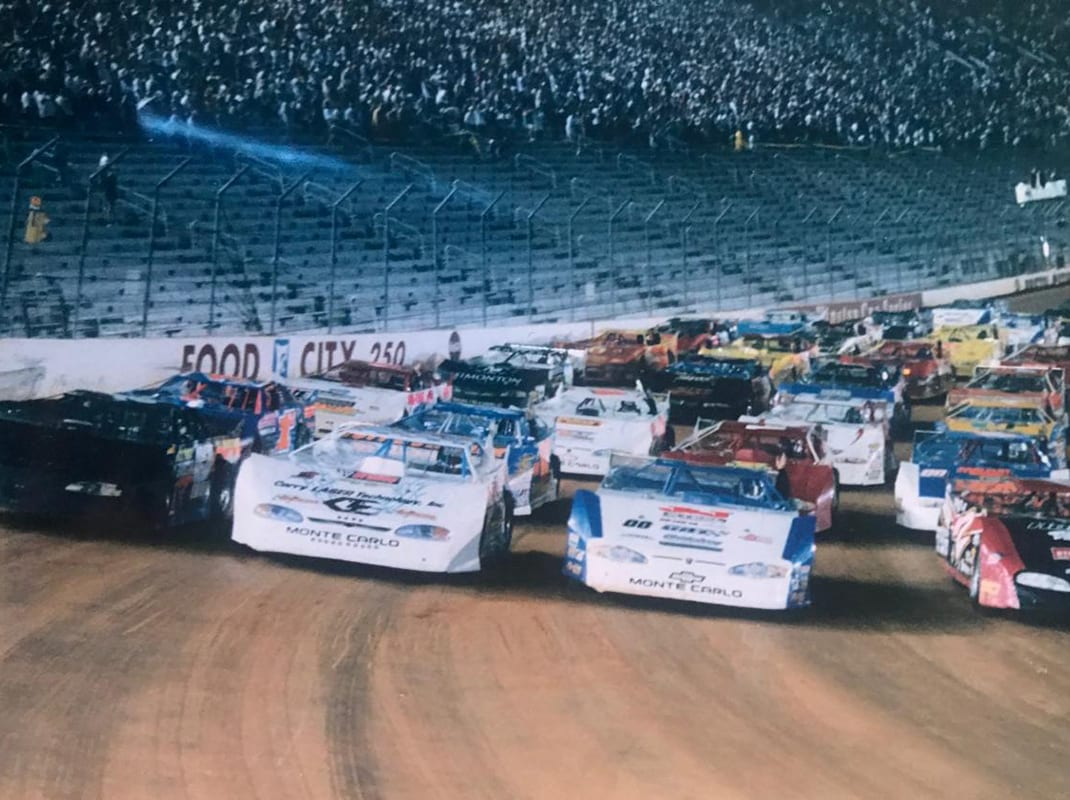 Bristol Motor Speedway hosted the Hav-A-Tampa Dirt Racing Series in June of 2000 for the Living Air 100. (UDTRA File Photo)