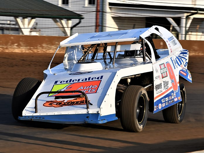 Ken Schrader, shown here last year at the Indiana State Fairgrounds, is among the entries for the modified feature Sunday at The New Raceway Park in Jefferson, S.D. (Al Steinberg Photo)