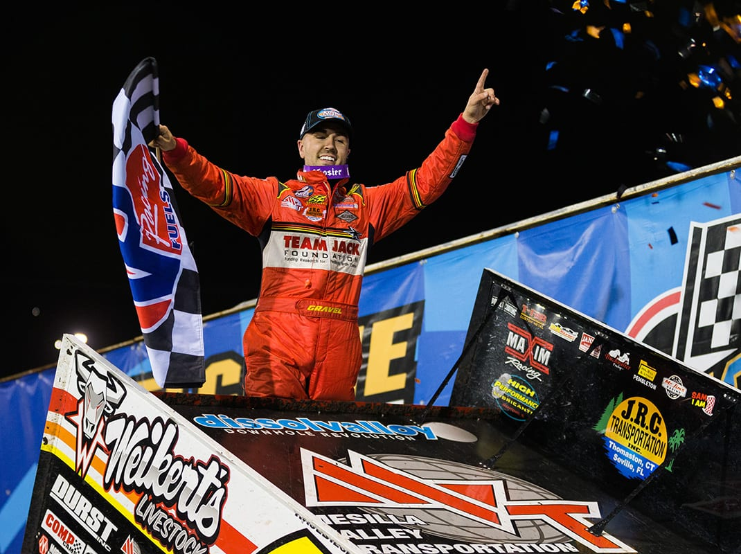 David Gravel in victory lane on May 8 at Knoxville Raceway. (Trent Gower Photo)