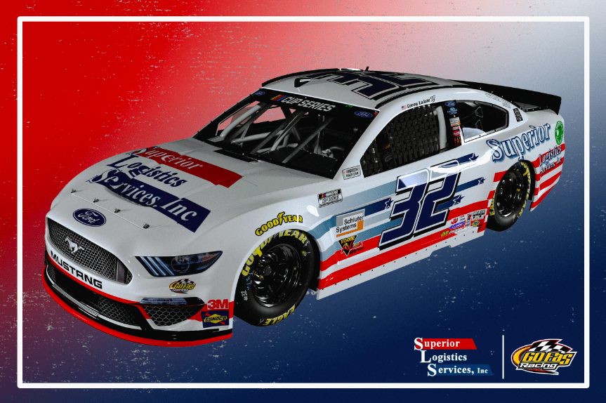 Superior Logistics will sponsor Corey LaJoie during Wednesday's NASCAR Cup Series race at Charlotte Motor Speedway.