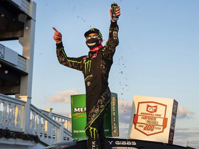 Ty Gibbs celebrates after winning Friday's ARCA Menards Series race at Pocono Raceway. (Adam Glanzman/ARCA Photo)