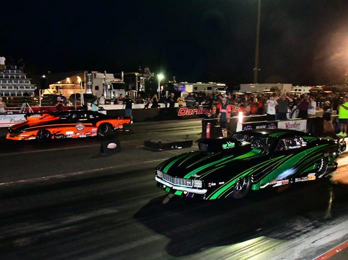Tommy Franklin (near lane) bested Jim Halsey (far lane) to win the Pro Nitrous portion of the PDRA Carolina Showdown on Saturday at Darlington Dragway (Roger Richards Photo)