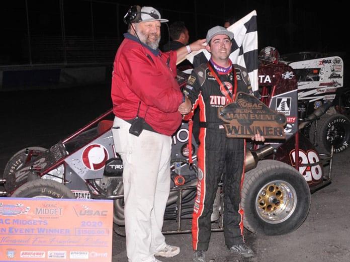 Alex Schutte in victory lane Saturday evening at Petaluma Speedway. (MMRacingPhotos.com Photo)