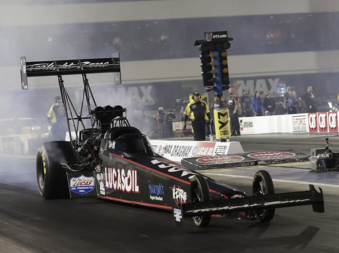 Dom Lagana, shown here in 2019 at zMAX Dragway, was among three injured in a road crash Sunday evening in Indiana. (HHP/Harold Hinson Photo)