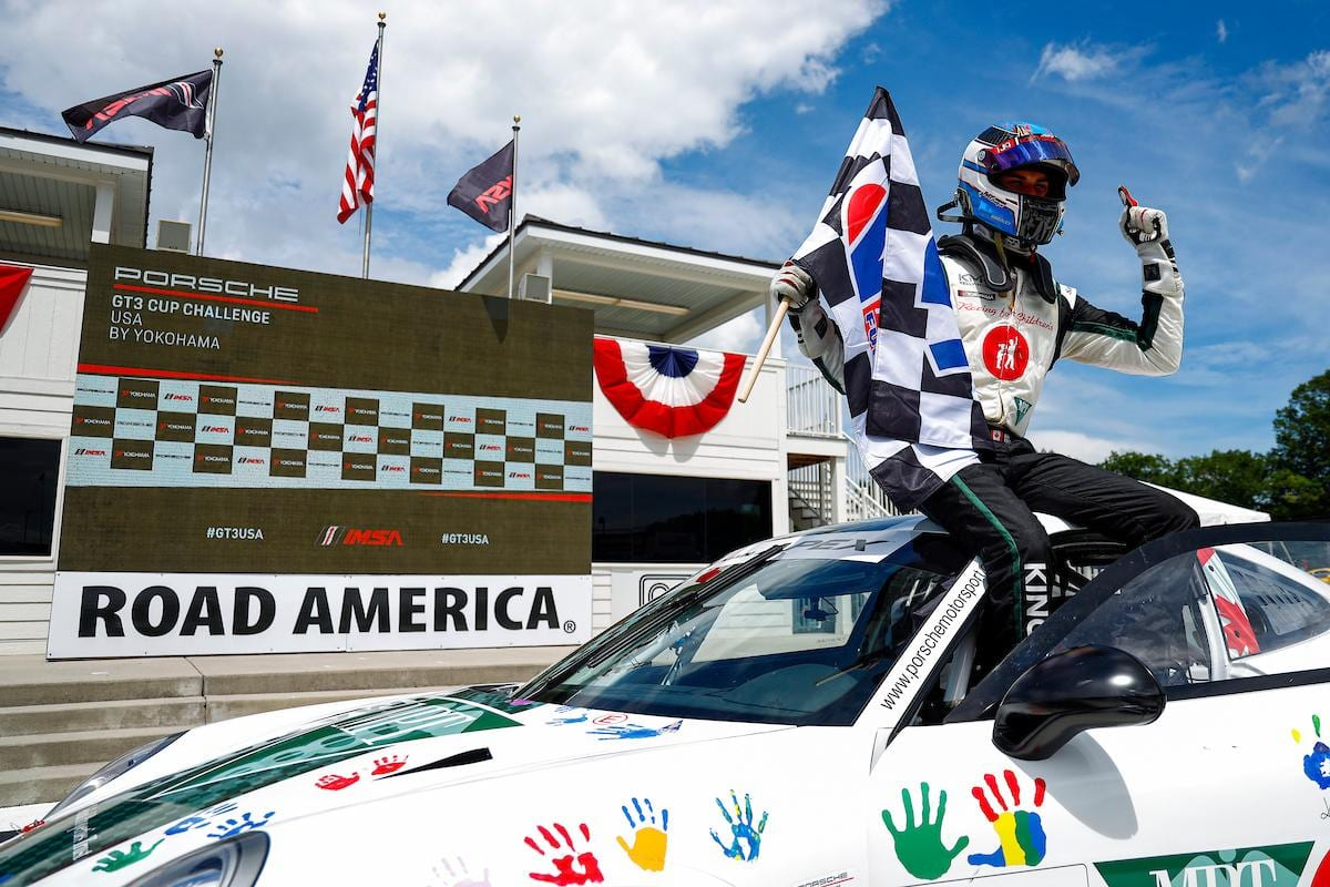 Jeff Kingsley became the first repeat winner of the Porsche GT3 Cup Challenge USA by Yokohama season Saturday at Road America. (IMSA photo)
