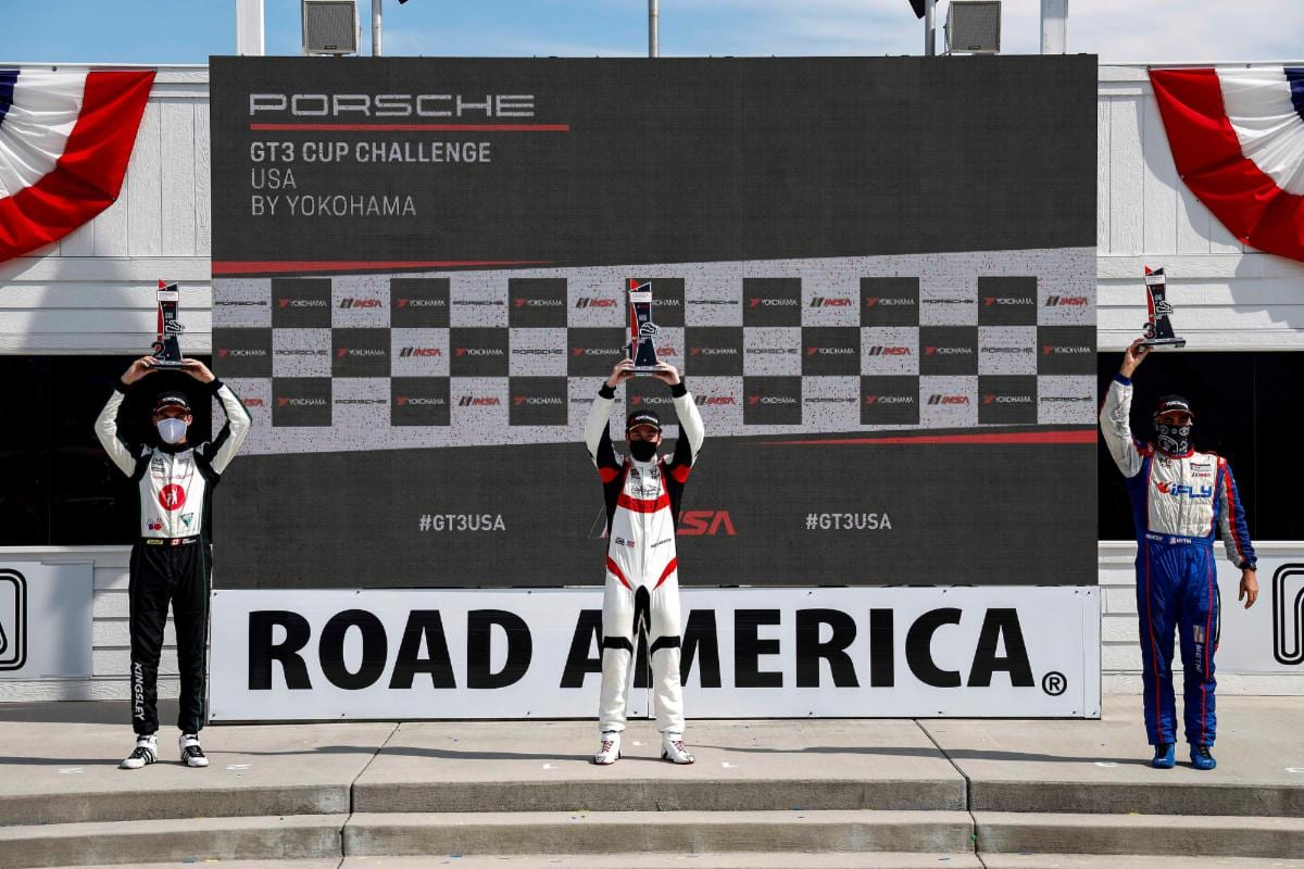 Riley Dickinson (center) took advantage of a mistake on the last lap to win Sunday's Porsche GT3 Cup Challenge USA by Yokohama event at Road America. (IMSA photo)