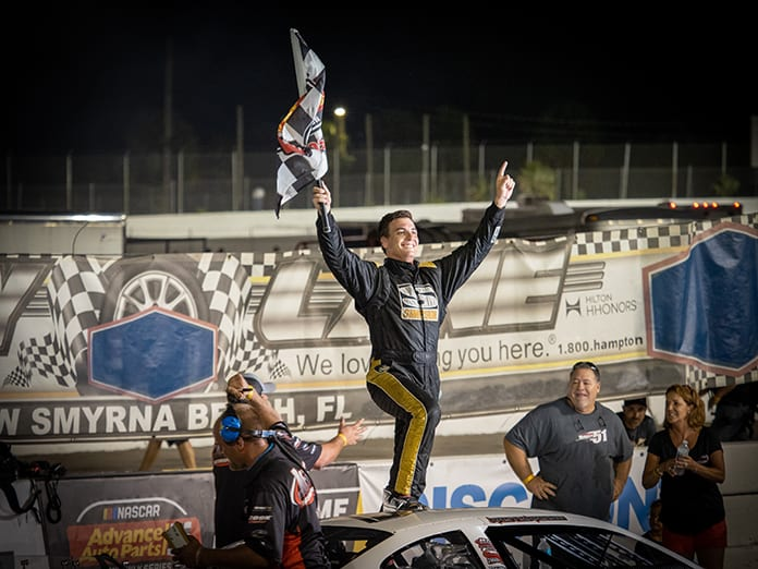 Stephen Nasse celebrates after winning Thursday's Clyde Hart Memorial 100 at New Smyrna Speedway. (Jason Reasin Photo)