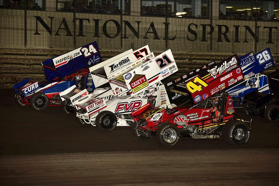 The field for Friday's The One and Only event at Knoxville Raceway prepares to go racing. (Mark Funderburk Photo)