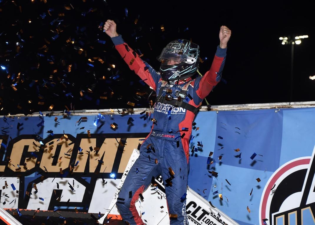 Kyle Larson in victory lane Thursday night at Knoxville Raceway. (Frank Smith photo)