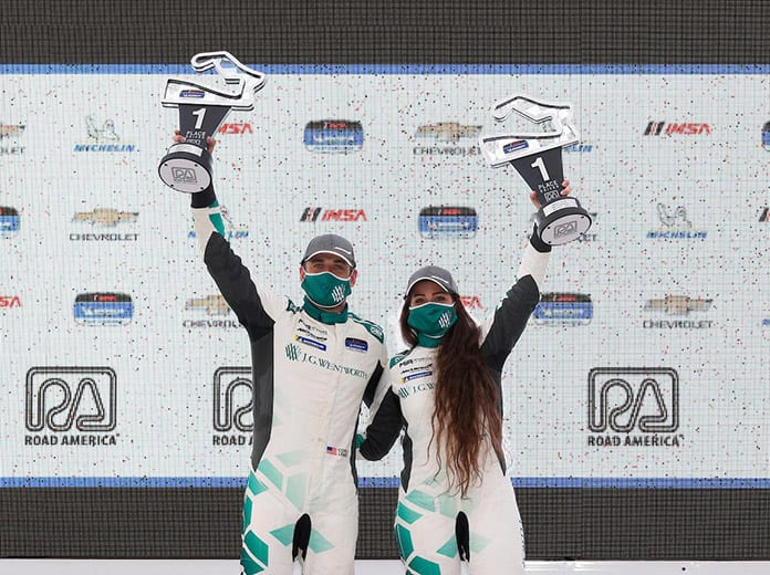 Corey Lewis and Sheena Monk triumphed in Saturday's IMSA Michelin Pilot Challenge event to Road America. (IMSA Photo)