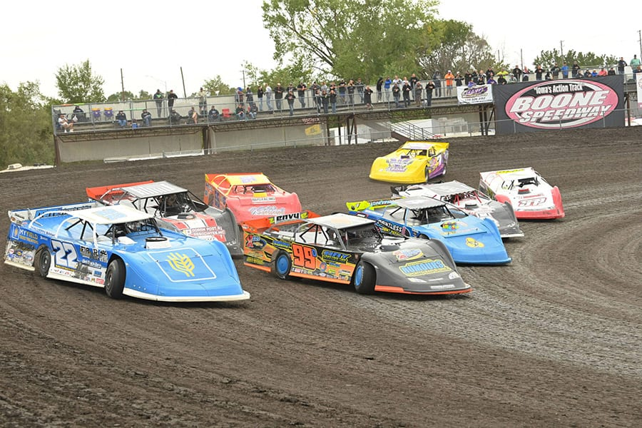 Late models race through turns three and four during the IMCA Speedway Motors Super Nationals fueled by Casey's at Boone Speedway. (Tom Macht Photo)