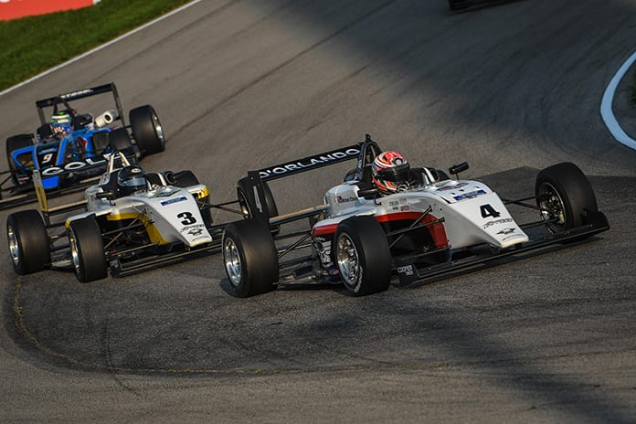 Teammates Michael d'Orlando (4) and Reece Gold (3) split a pair of Cooper Tires USF2000 Championship races Saturday at the Mid-Ohio Sports Car Course.