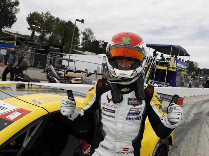 Antonio Garcia put Corvette Racing on the pole for the GT Le Mans portion of the Petit Le Mans. (IMSA Photo)