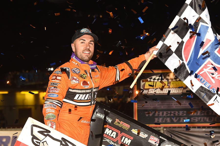 David Gravel celebrates after winning Friday's World of Outlaws NOS Energy Drink Sprint Car Series National Open preliminary event at Williams Grove Speedway. (Julia Johnson Photo)