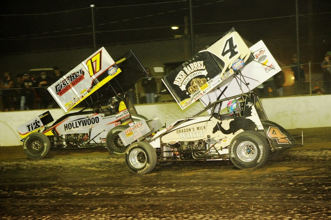 Cap Henry (4) battles Ian Madsen at Fremont Speedway. (Julia Johnson photo)
