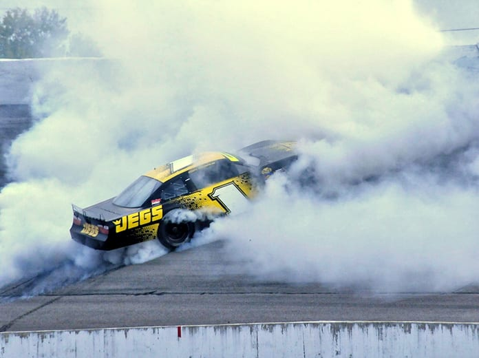 Cody Coughlin celebrates with a burnout after winning the JEGS/CRA All-Stars Tour season finale Friday at Winchester Speedway. (Randy Crist Photo)