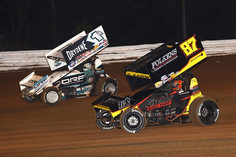 Aaron Reutzel (87) chases Jacob Allen during Friday's World of Outlaws NOS Energy Drink Sprint Car Series National Open preliminary event at Williams Grove Speedway. (Julia Johnson Photo)