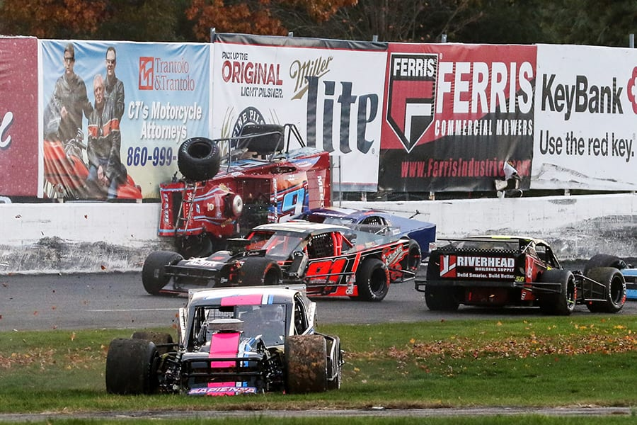 Woody Pitkat's modified rides the wall during a crash as part of Saturday's Tri Track Open Modified Series race at Stafford Motor Speedway. (Dick Ayers Photo)