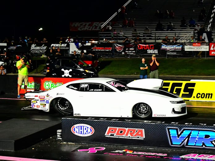 J.R. Carr won the PDRA Extreme Pro Stock portion of the Proline Racing Brian Olson Memorial World Finals Saturday night. (Roger Richards Photo)