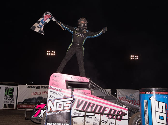 Thomas Meseraull celebrates his victory in Friday's USAC NOS Energy Drink National Midget Series event at Merced Speedway. (Devin Mayo Photo)