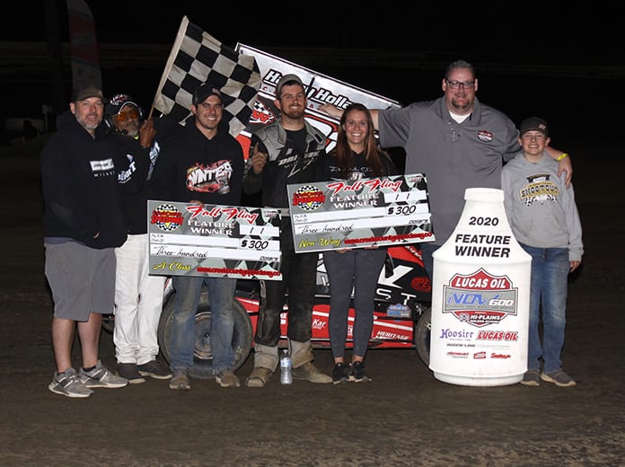 Frank Flud won a pair of Lucas Oil National Open Wheel 600 Series features on Saturday at Creek County Speedway. (Richard Bales Photo)
