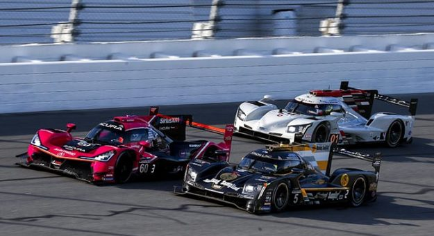 The No. 5 JDC-Miller MotorSports Cadillac DPi was at the front of the Rolex 24 field after four hours were complete Saturday evening at Daytona Int'l Speedway. (IMSA Photo)