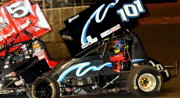 Kerry Madsen at the wheel of the No. 101 sprint car earlier this month in Florida. (Hein Brothers Photo)