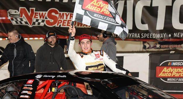 Sammy Smith in victory lane Sunday at New Smyrna Speedway. (Jim DuPont Photo)