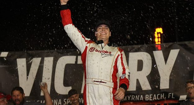 Stephen Nasse celebrates his victory in Friday's 100-lap pro late model feature at New Smyrna Speedway. (Jim DuPont Photo)