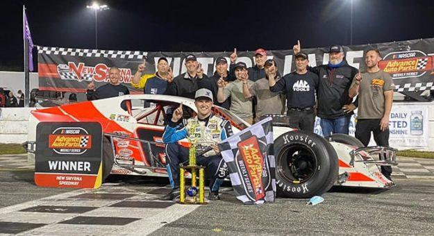 Ryan Preece in victory lane Wednesday at New Smyrna Speedway. (Jason Reasin Photo)