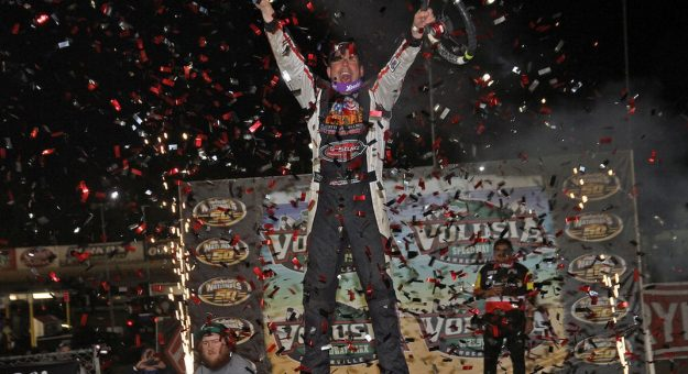 Kyle Strickler in victory lane at Volusia Speedway Park. (Jim DenHamer photo)
