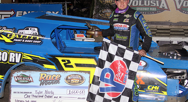 Tyler Nicely won the first of two DIRTcar UMP Modified features Wednesday at Volusia Speedway Park. (Jim Denhamer Photo)