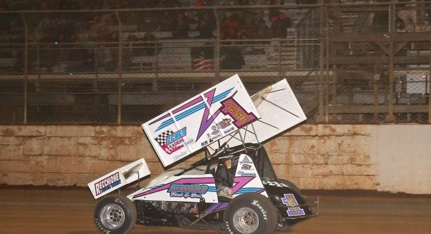 Logan Wagner en route to victory Saturday at Port Royal Speedway. (Dan Demarco photo)