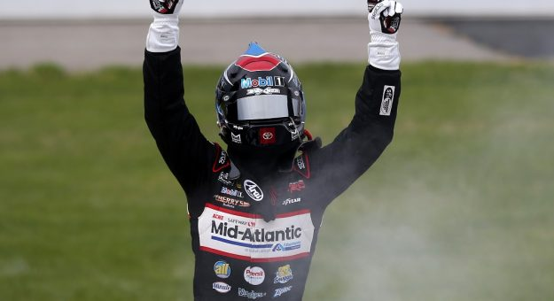 RICHMOND, VIRGINIA - APRIL 17: John Hunter Nemechek, driver of the #4 Safeway Toyota, celebrates after winning the NASCAR Camping World Truck Series ToyotaCare 250 at Richmond Raceway on April 17, 2021 in Richmond, Virginia. (Photo by Brian Lawdermilk/Getty Images) | Getty Images