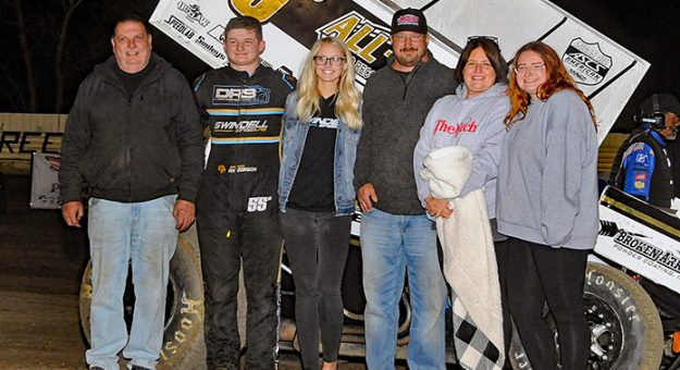Brandon Anderson in victory lane with his family and crew Sunday night at Creek County Speedway. (TWC Photo)